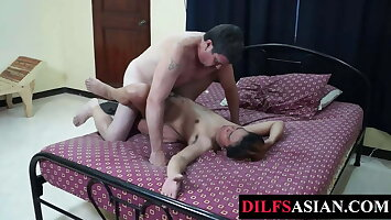 Asian twink blows mature Hawkshaw before breeded from all sides