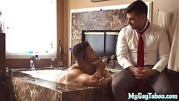 Muscled black stepbro raw fucked for cumshot