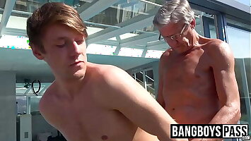 Old plus young said session with grandpa plus twink cute lady's man
